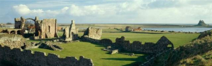 Ruins of Lindisfarne Priory on Holy Island built on the ruins of earlier monastery established by St Aidan in 635AD and one of the hubs of Celtic mission in Europe.